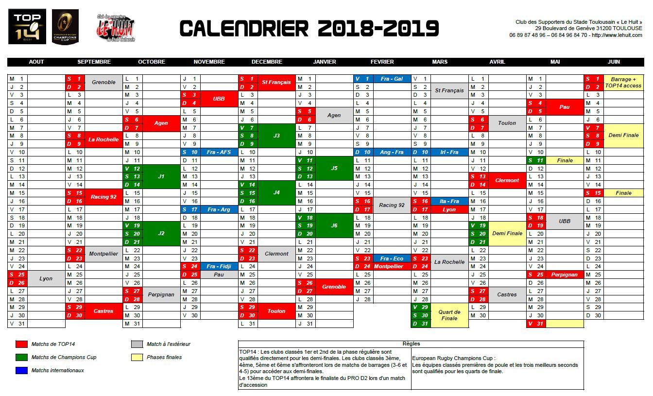Calendrier Stade Toulousain 2019.Le Calendrier 2018 2019 Commence A Se Devoiler Le Huit