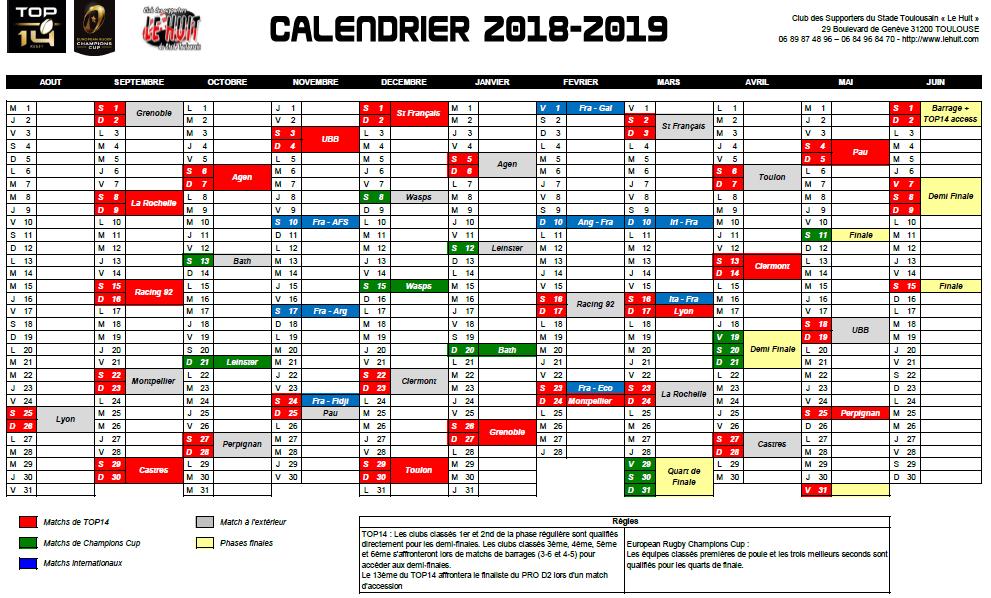 Calendrier Stade Toulousain 2019.Le Calendrier 2018 2019 Est Complet Le Huit Club Des